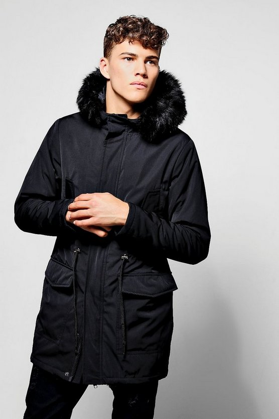 Faux Fur Lined Hooded Parka