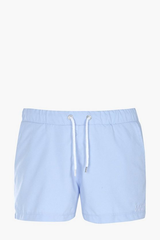 Short Plain Swim Shorts With Embroidery