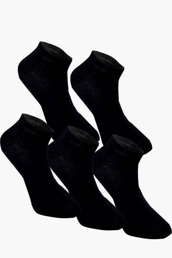 5 Pack Plain Black Trainer Socks