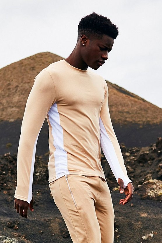 Long Sleeve Muscle Fit T Shirt With Side Panel