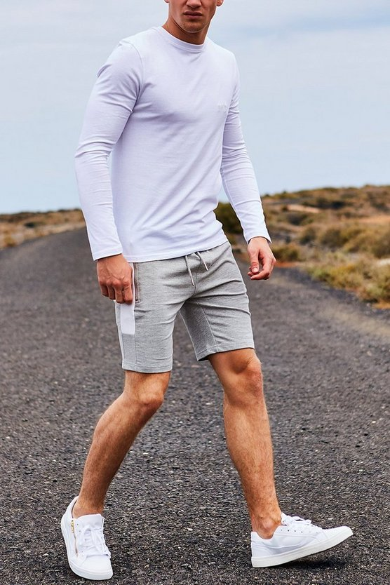 Long Sleeve Muscle Fit T Shirt With MAN Logo