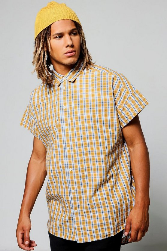 Capped Sleeve Check Shirt