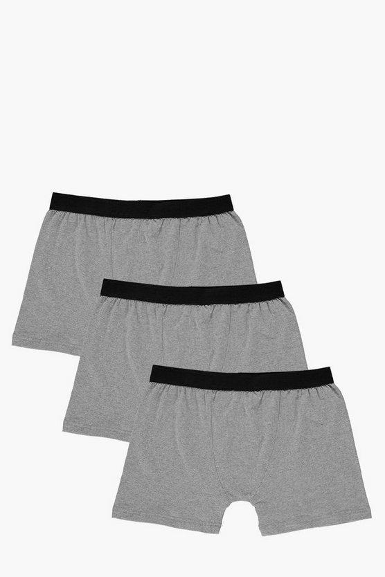 3 Pack Plain Grey Trunks
