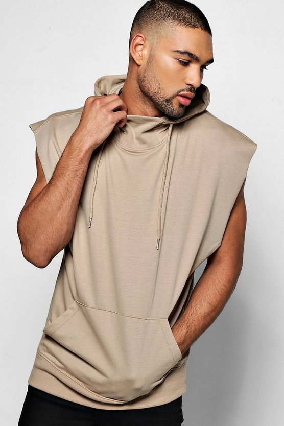 Snorkel Neck Drop Arm Sleeveless Hoodie