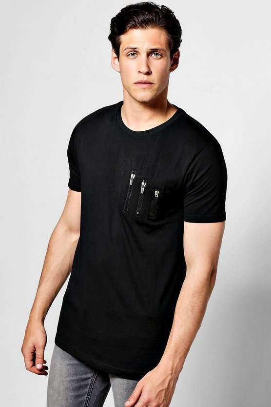 Skater Zip T Shirt With Curve Hem