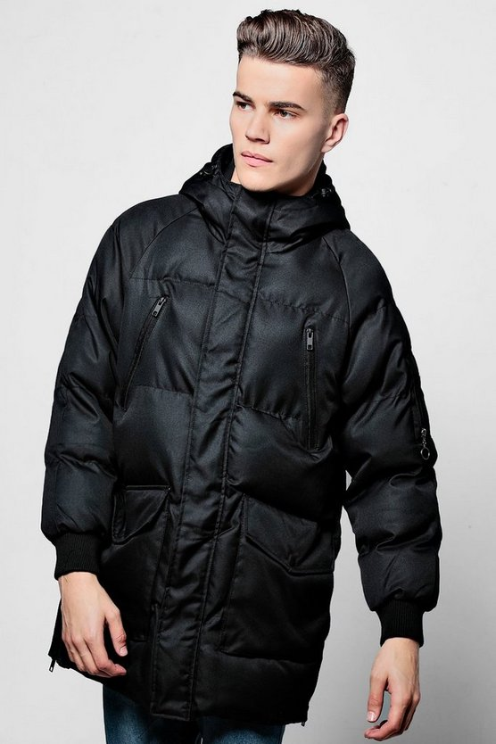 Black Quilted Jacket With Technical Zip
