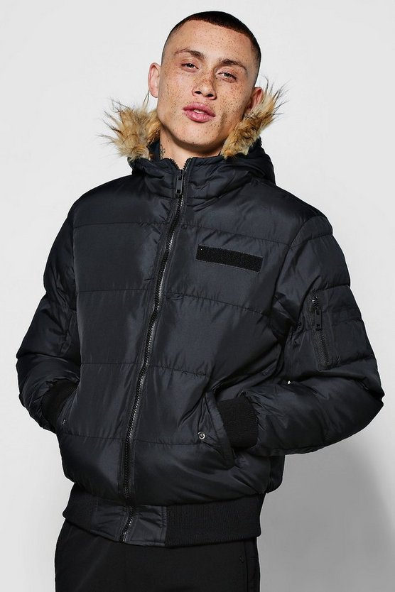 Quilted Jacket With Oversized Faux Fur Hood