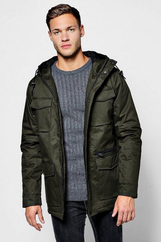Multi Pocket Coated Cotton Field Jacket