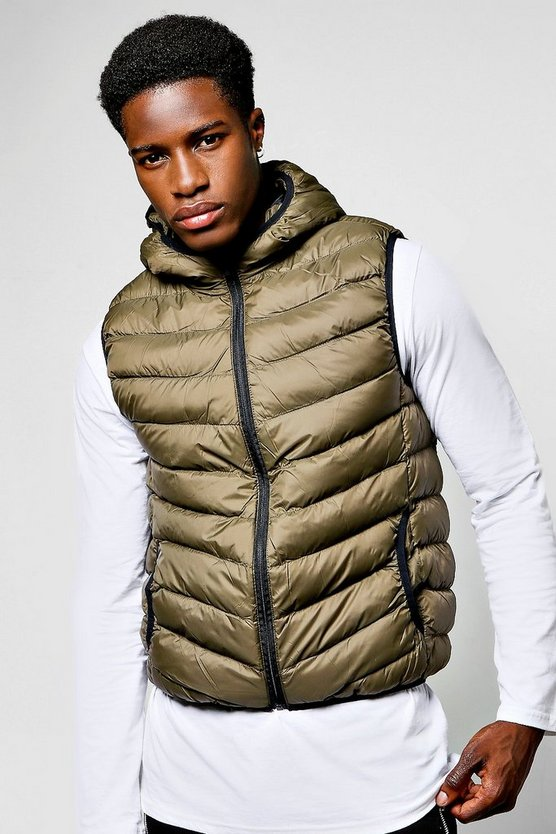 Khaki Hooded Gilet With Chevron Quilting