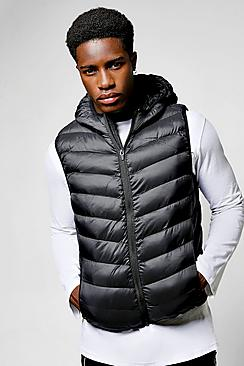 Black Hooded Gilet With Chevron Quilting