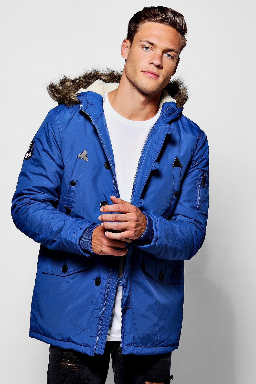 Pocket Parka With Chunky Faux Fur Hood - blue