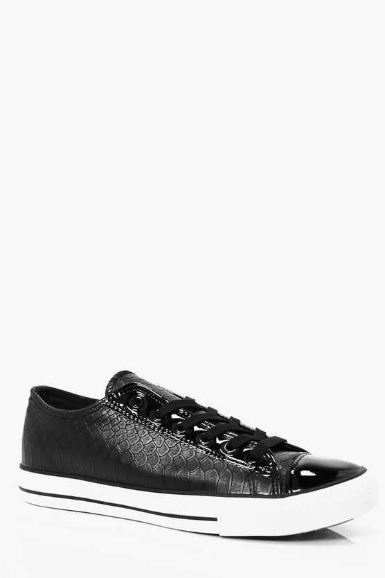 Faux Skin Lace Up Trainers