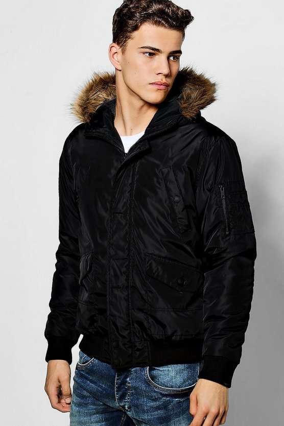 Black Short Parka With Faux Fur Hood