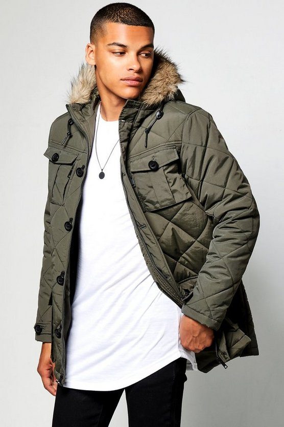 Multi Pocket Quilted Parka With Faux Fur Hood