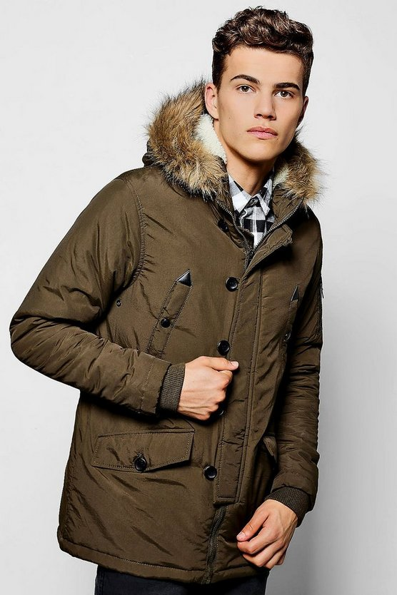 Khaki Parka With Faux Fur Lined Hood