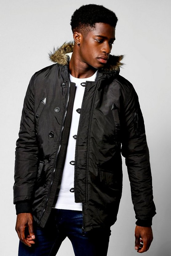 Black Parka With Faux Fur Lined Hood
