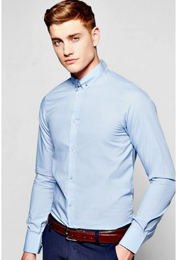 Slim Fit Long Sleeve Pin Collar Shirt