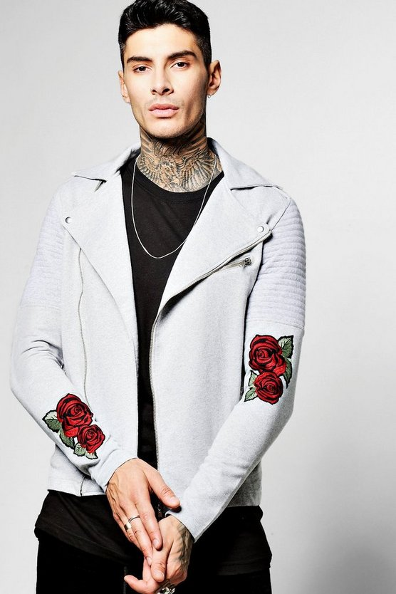 Jersey Biker With Embroidered Sleeve