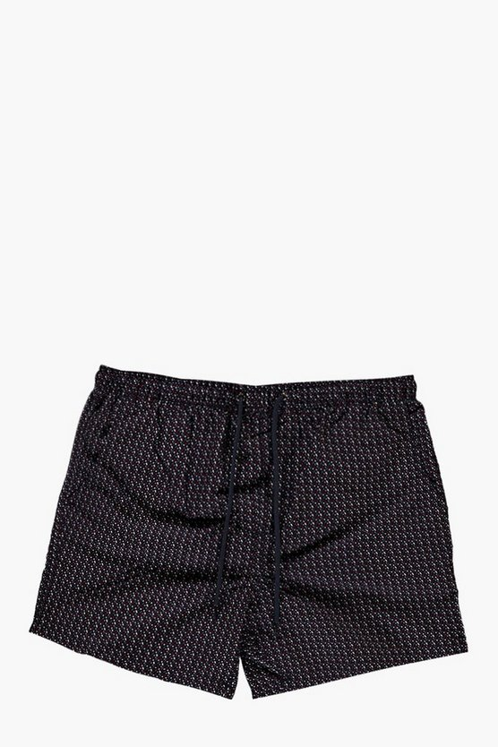 Short Length Geo Print Swim Shorts