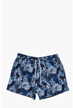 Short Length Floral Print Swim Shorts