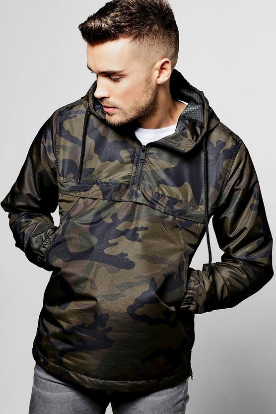 Over the Head Camo Print Cagoule