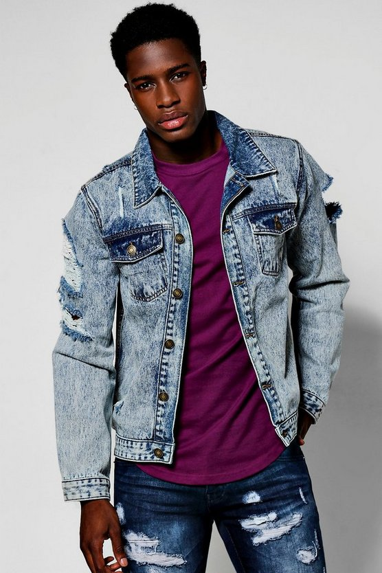 Snow Wash Denim Jacket with Open Rips