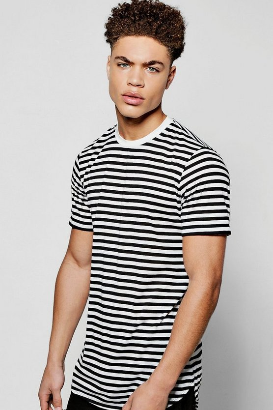 Curved Stepped Hem Stripe T Shirt