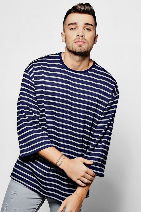 3/4 Sleeve Oversized Striped T Shirt