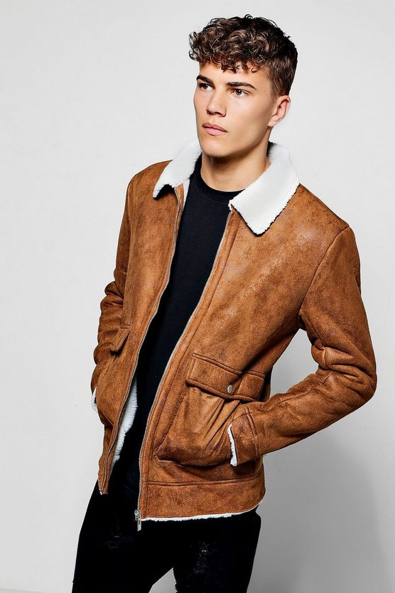 Faux Suede Jacket With Borg Collar