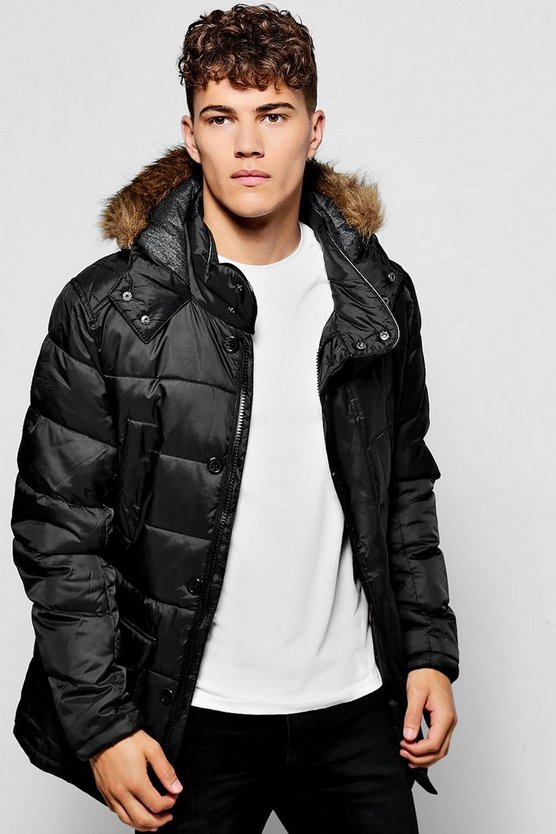 Padded Parka Jacket With Faux Fur Hood
