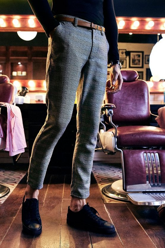 Cropped Tailored Check Trousers