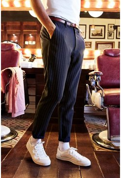 Cropped Tailored Stripe Trousers