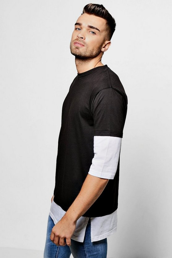 Faux Layer 3/4 Sleeve T Shirt