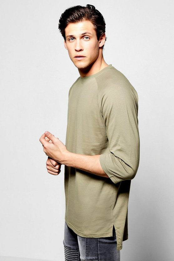 3/4 Sleeve T Shirt With Stepped Hem