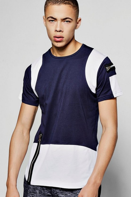 Colour Block T Shirt With Zip Detail