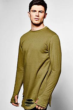 Distressed Curve Hem Jumper With Thumb Hole