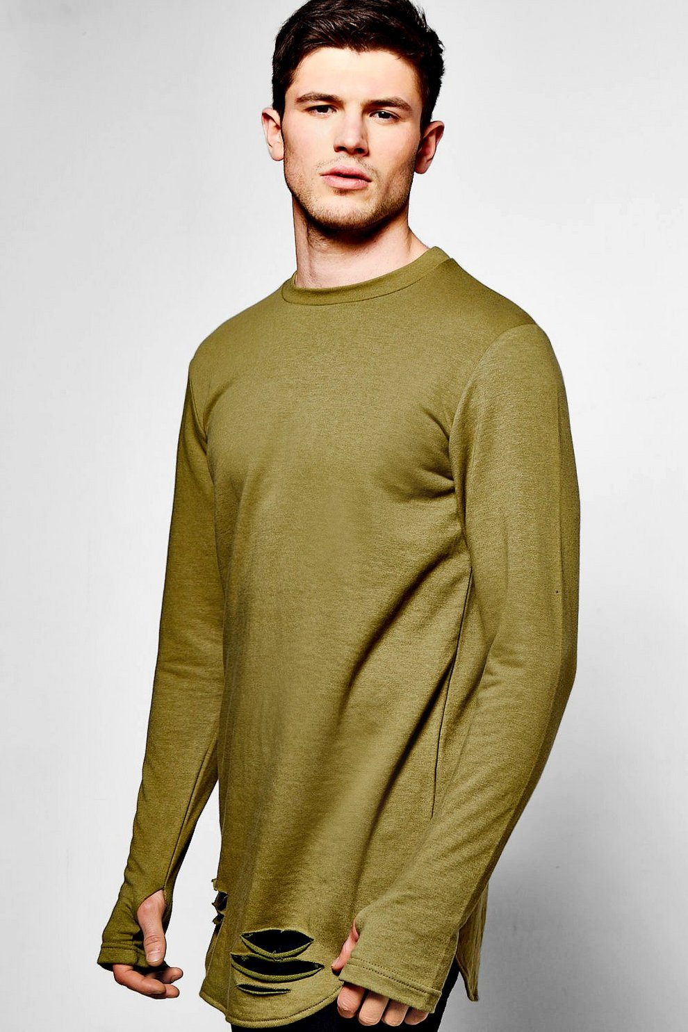 Thumb hole hem sweater