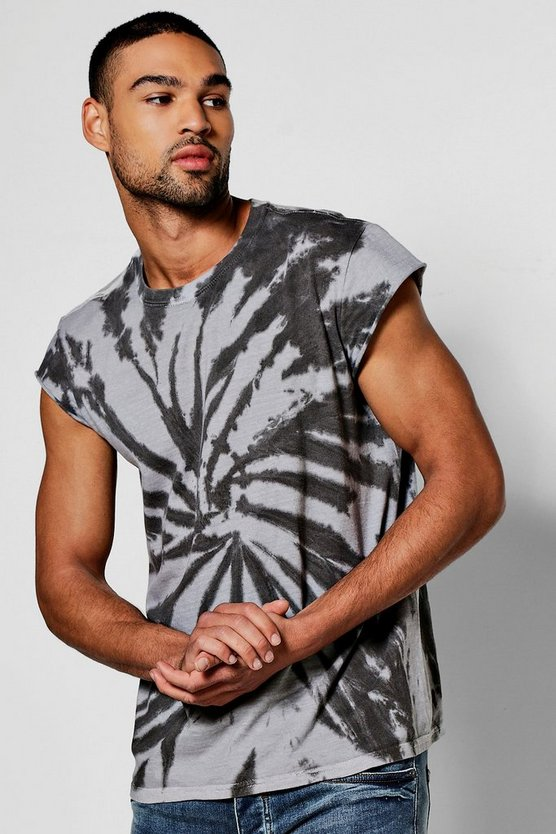 Tie Dye T Shirt With Cap Sleeve