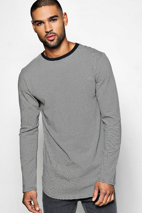 Long Sleeve Curved Hem Stripe T Shirt