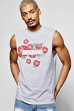 Rebel Floral Sleeveless T Shirt