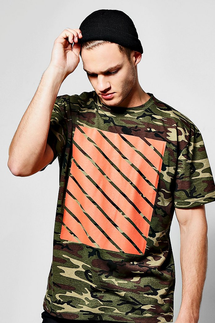 Oversized Camo Print T Shirt With Orange Print