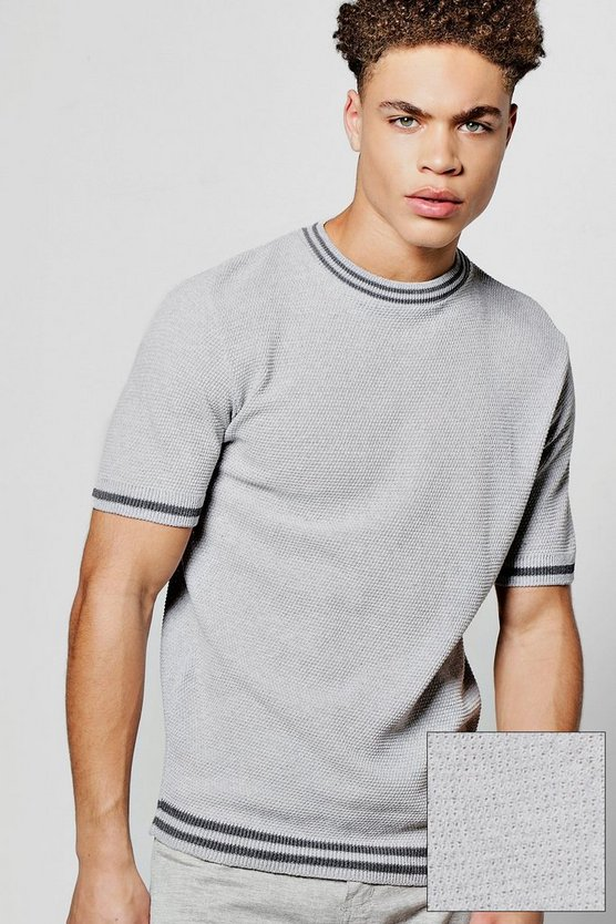 Short Sleeve Crew Neck Knitted T Shirt