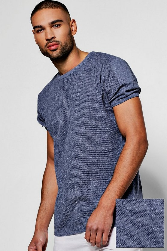 Crew Neck Knitted T Shirt With Sleeve Detail