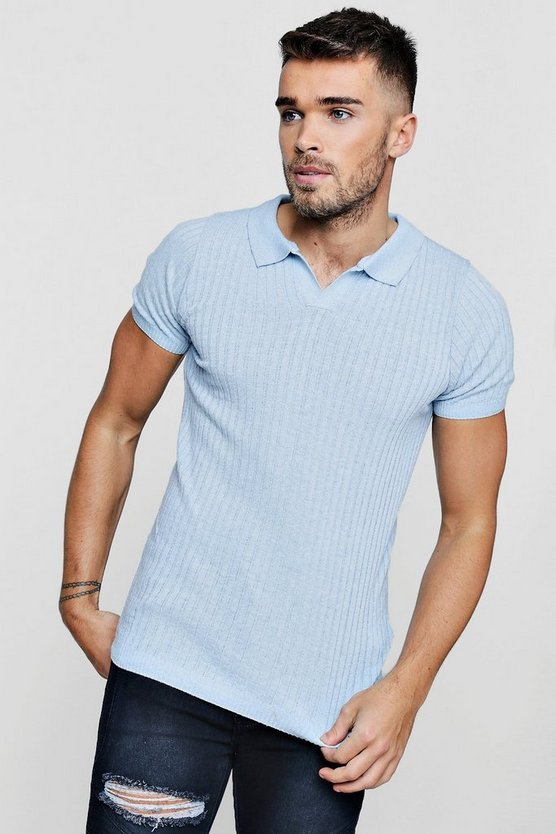 Muscle Fit Revere Collar Short Sleeve Knitted Polo