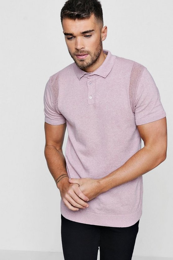 Knitted Polo with Mesh Insert