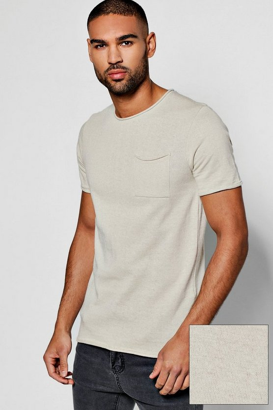 Short Sleeve Bagel Neck Knitted T Shirt