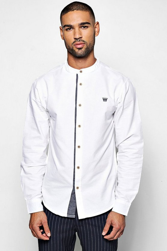 Contrast Placket Long Sleeve Grandad Shirt