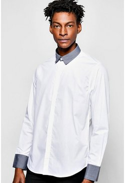 Contrast Collar Long Sleeve Shirt