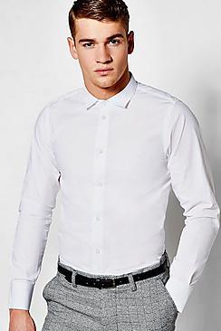 Camicia da ufficio a vestibilità slim con maniche lunghe