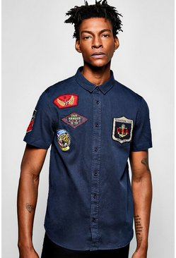 Short Sleeved Badged Military Shirt!